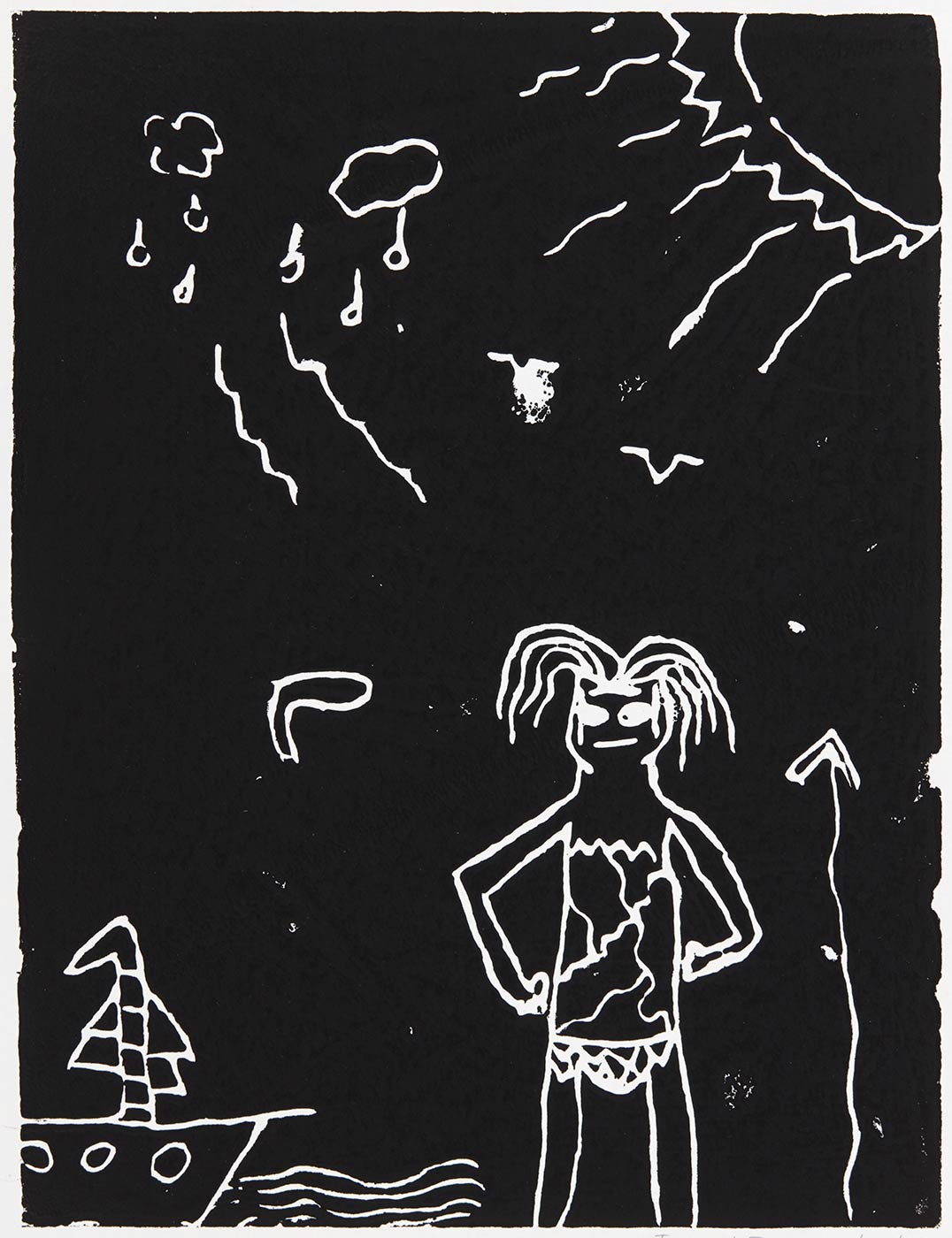 A child's artwork print depicting a man with his hands on hips, watching a ship in the distance. - click to view larger image