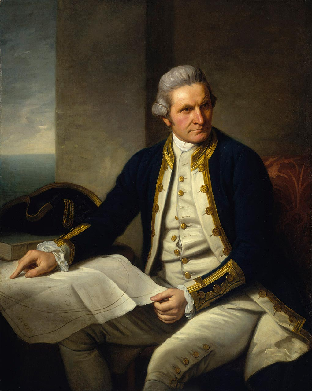 Oil painting showing a British naval captain, seated beside a small table, gazing to the left. The man wears a navy blue coat and off-white breeches and waistcoast, with gold-coloured buttons. His right arm rests on a map, the corner of which he holds in his left hand.  - click to view larger image