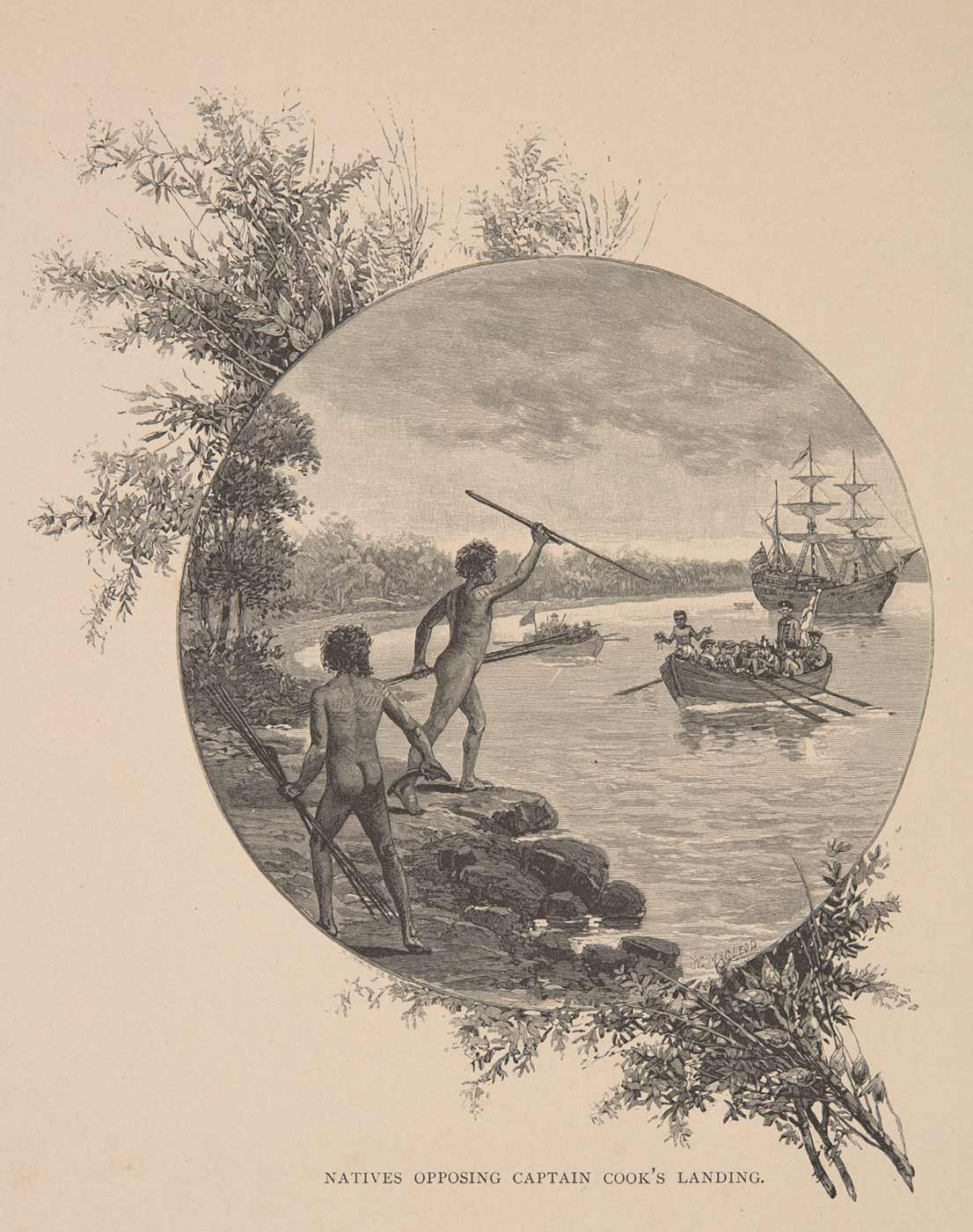 Illustration featuring two men in defensive stances and watching from a cliff edge overlooking a bay. A large ship is in the distance with rowboats heading in the direction of the two men. One of the men on the cliff edge is holding up his spear in attack mode. - click to view larger image