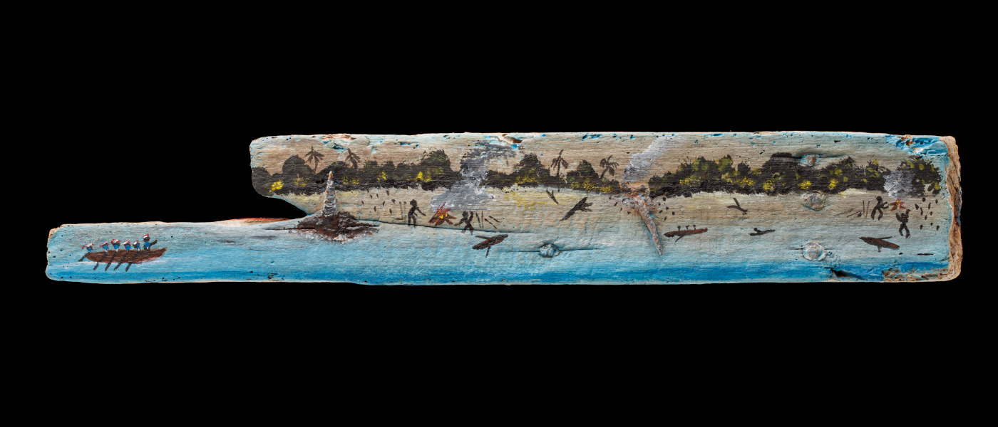 An acrylic painting on driftwood featuring a land and sea landscape, stick figures, boats and warning fires. - click to view larger image