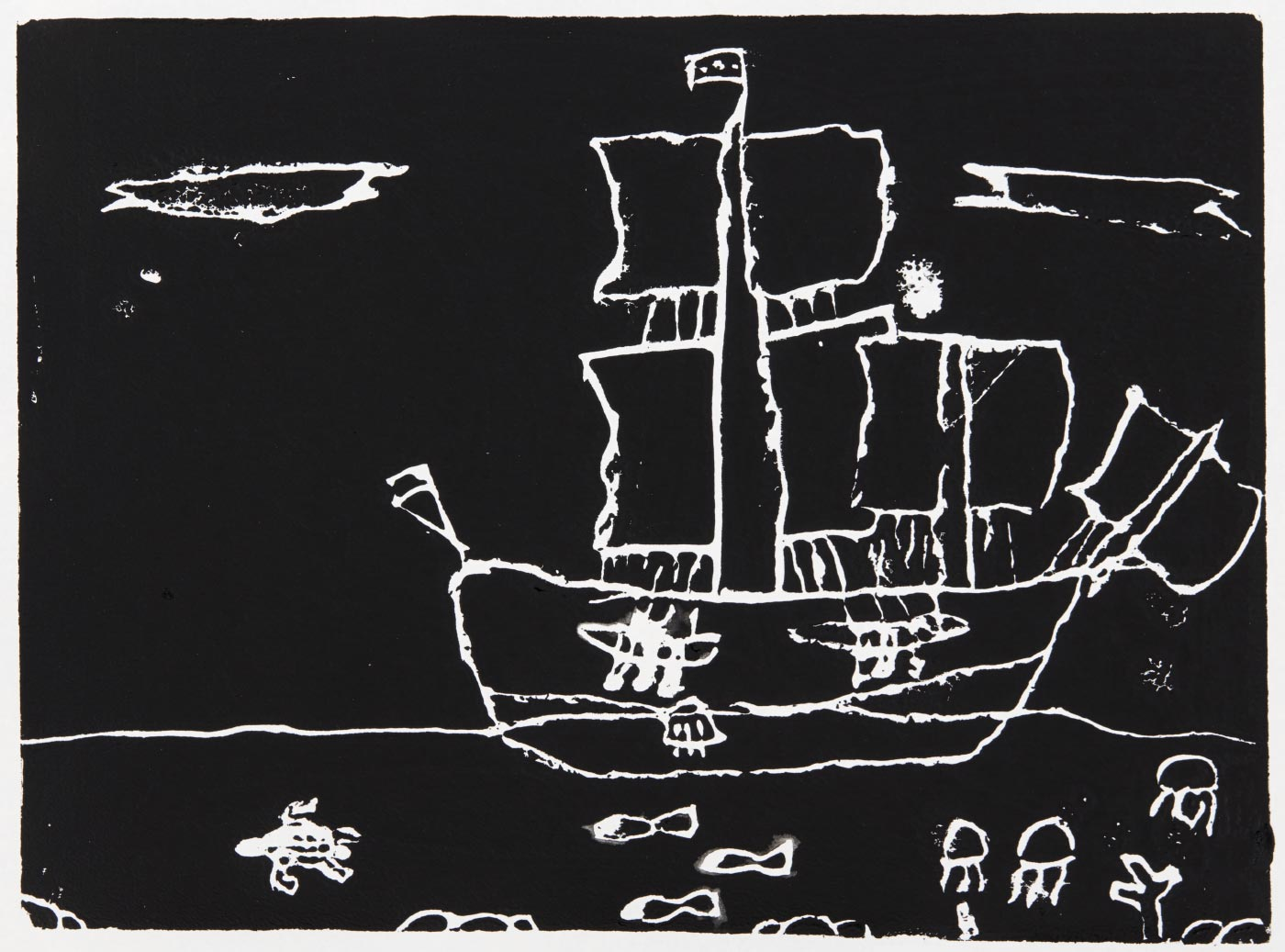 Print, black ink on white paper, depicting a boat, with a turtle, fish, and jellyfish in the water below. Annotated in pencil 'Charlese 2/2/19'. - click to view larger image