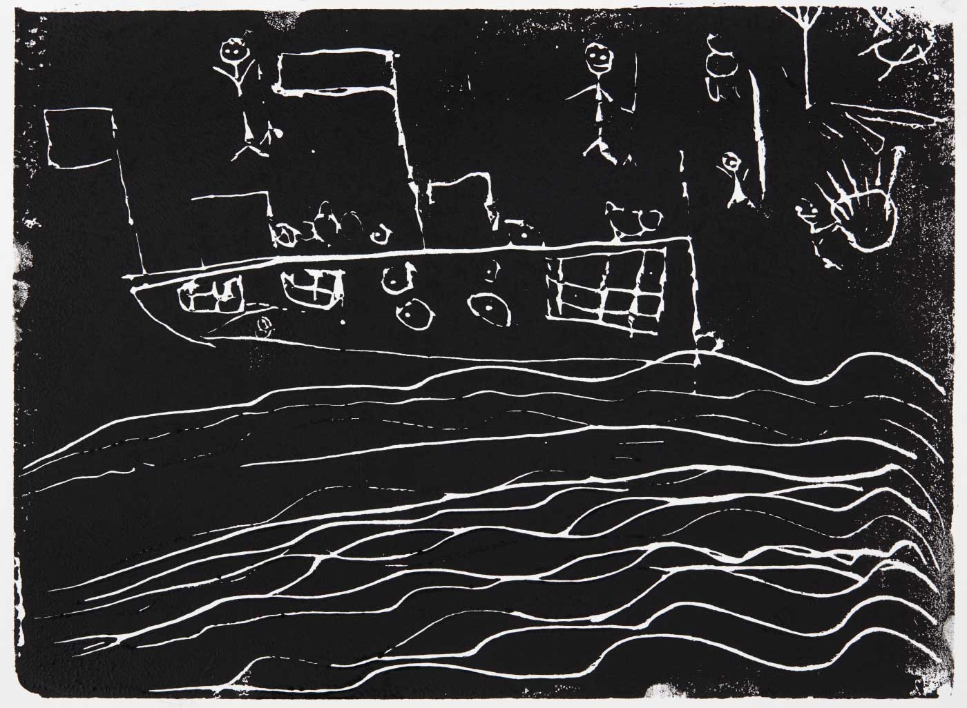 Print, black ink on white paoer, depicting a boat on water and figures on the shore. Annotated in pencil 'Jack'. - click to view larger image