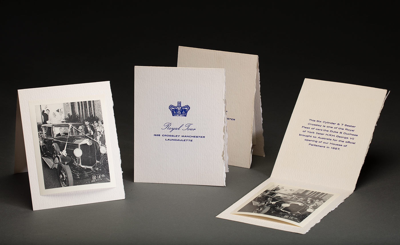 An image of three black and white mounted photographs showing a wedding party surrounding a car. - click to view larger image