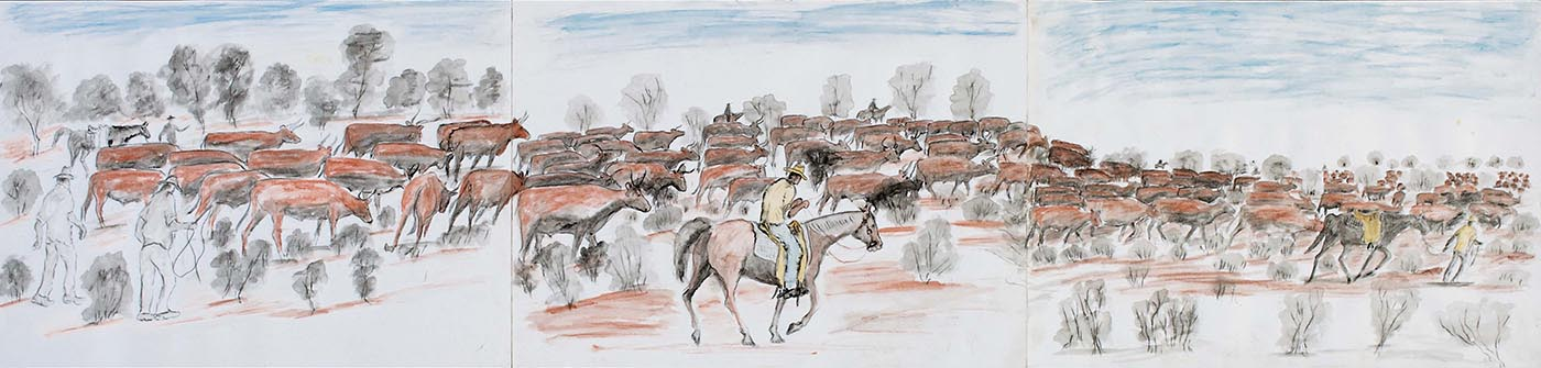 A water colour and pencil work on three sheets of heavy paper joined with adhesive tape on the reverse. The work depicts a herd of brown coloured cattle with men on horseback and men on foot around them. A male figure, centre, wears a yellow hat, beige shirt and blue trousers, and rides a red-brown horse. In the background are trees and foliage in grey or brown against a light blue sky, while in the foreground there are plants in grey on a red ground. At the left edge the page is uneven where it has been torn from a spiral bound pad. There is a piece of the same paper that sits inside the work when it is folded up.