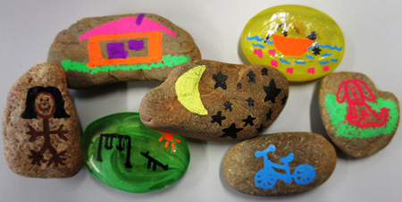 Rocks decorated with pictures. - click to view larger image