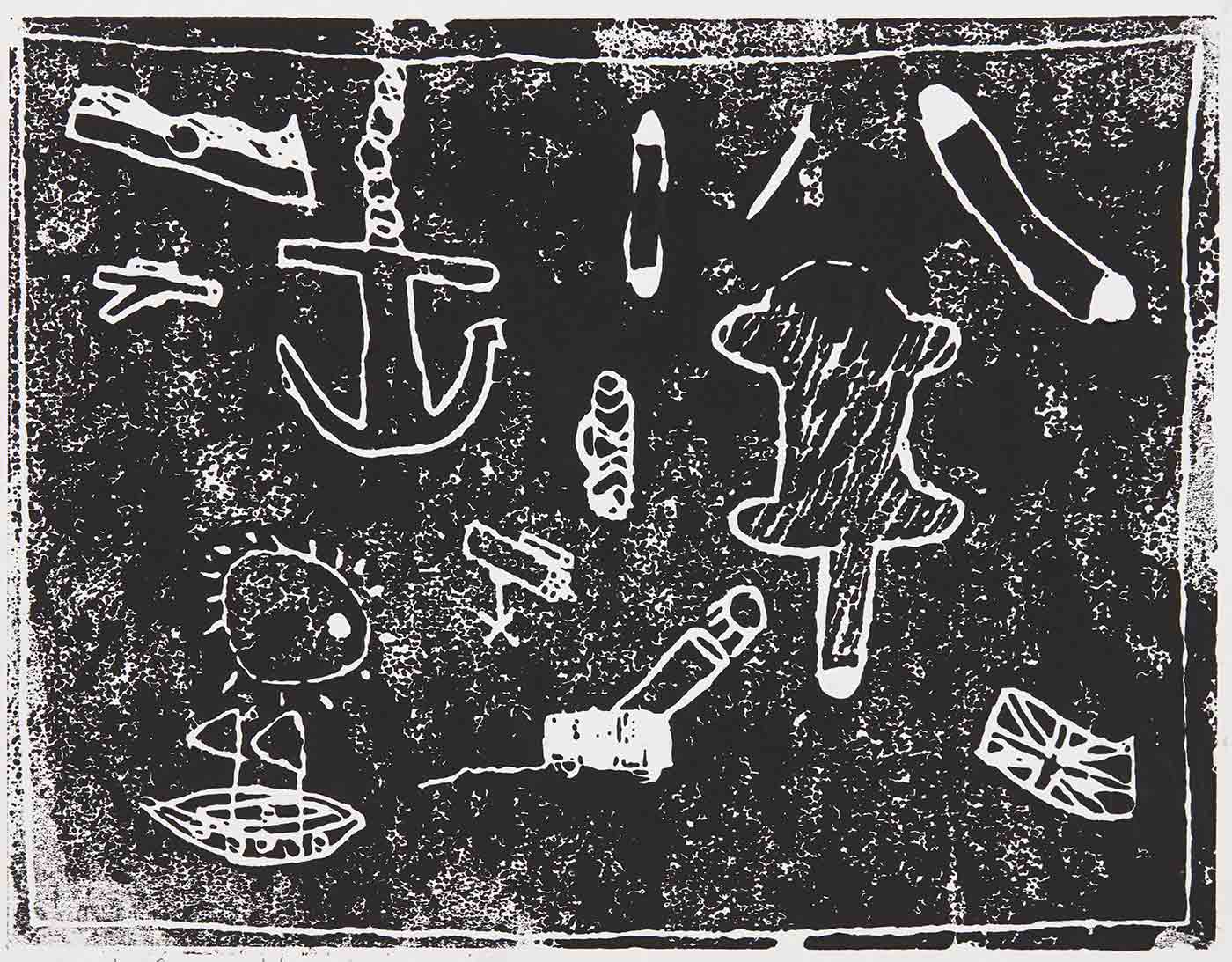 A black print on white cardboard with various forms, some of which include, a boat, cannon, a chained anchor, the British flag and the Australian Aboriginal flag. The print is signed 'Khani Carruthers' and titled ''The space of Artifacts''. - click to view larger image