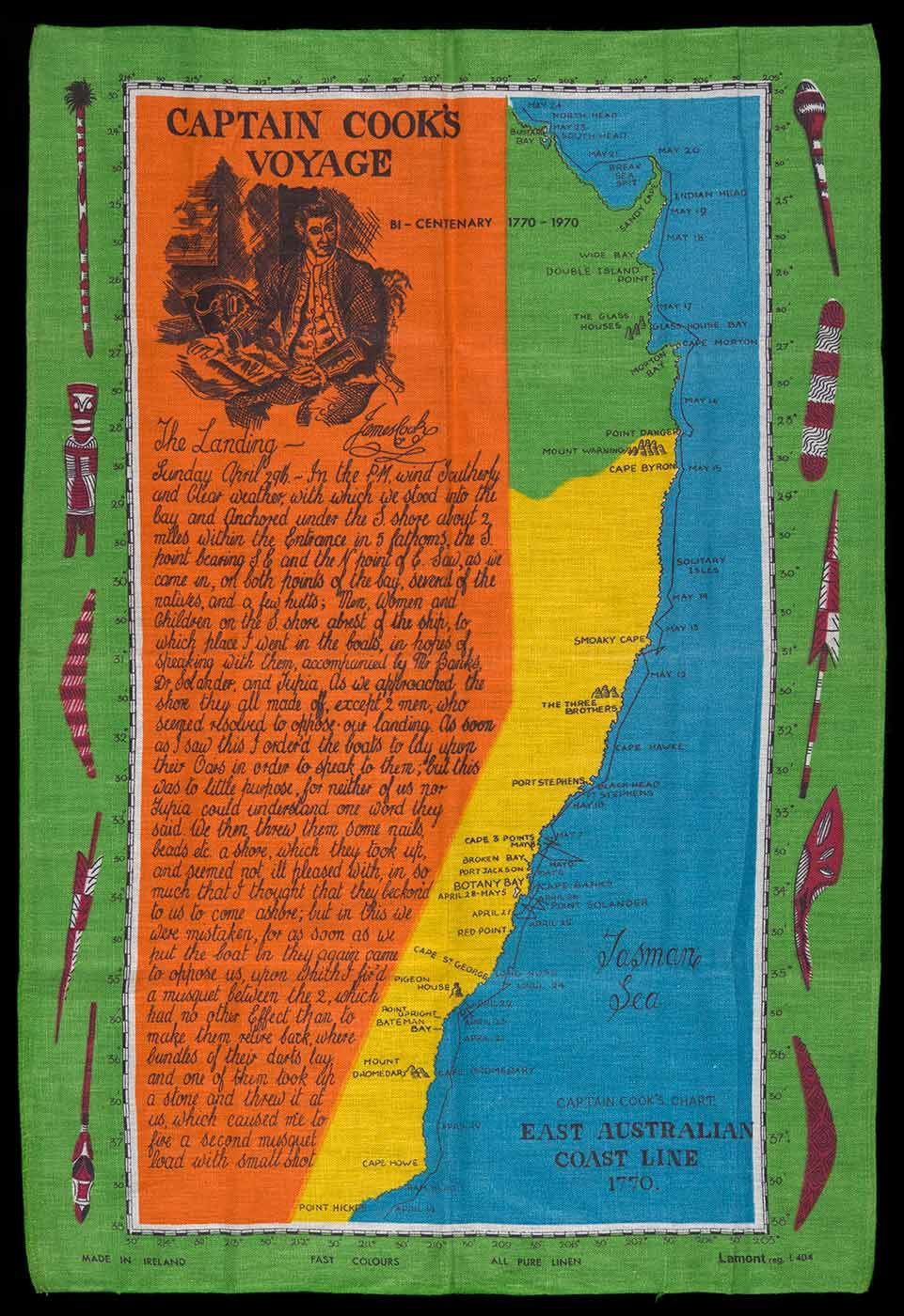 A tea towel featuring a map of the coast of Australian from Point Hicks to Sandy Cape. The tea towl has text from Cooks journal and a heading that reads 'CAPTAIN COOKS / VOYAGE' and 'BI-CENTENARY 1870-1970'. - click to view larger image