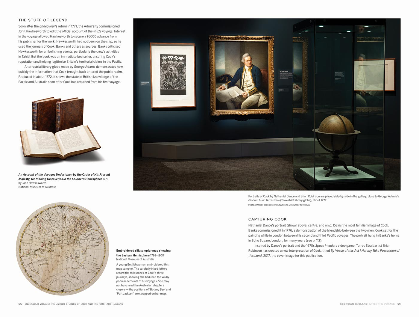Sample page for the Endeavour Voyages: The Untold Stories of Cook and the First Australians catalogue. The page features body text; and images of an exhibition space with display box and art works, leatherbound books and embroidered silk map. - click to view larger image