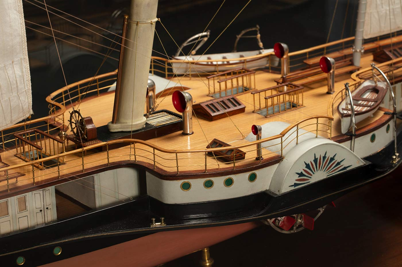 Detail of a model of a ship featuring the deck. - click to view larger image