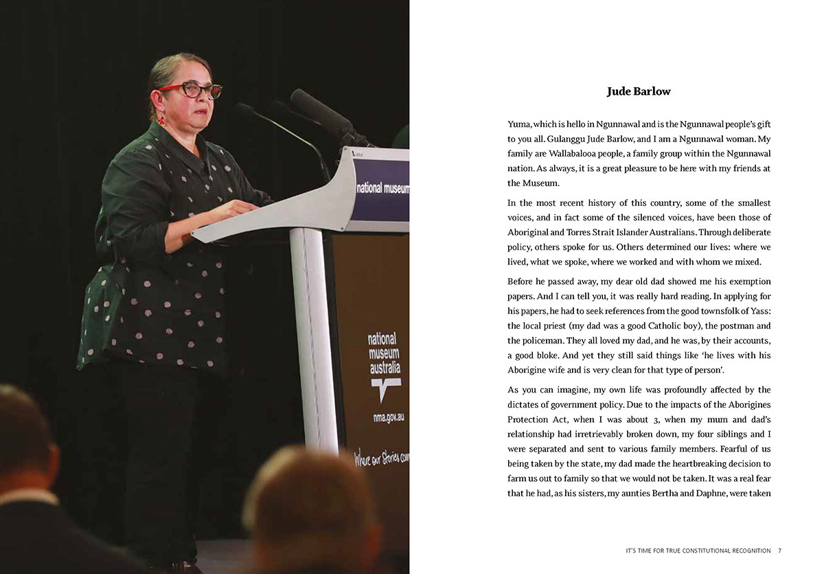 Sample page from a book with an image of a woman speaking at a lectern, left, and text at right that starts: 'Jude Barlow. Yuma, which is hello in Ngunnawal and is the Ngunnawal people's gift to you all'. The text outlines Jude's family history.  - click to view larger image