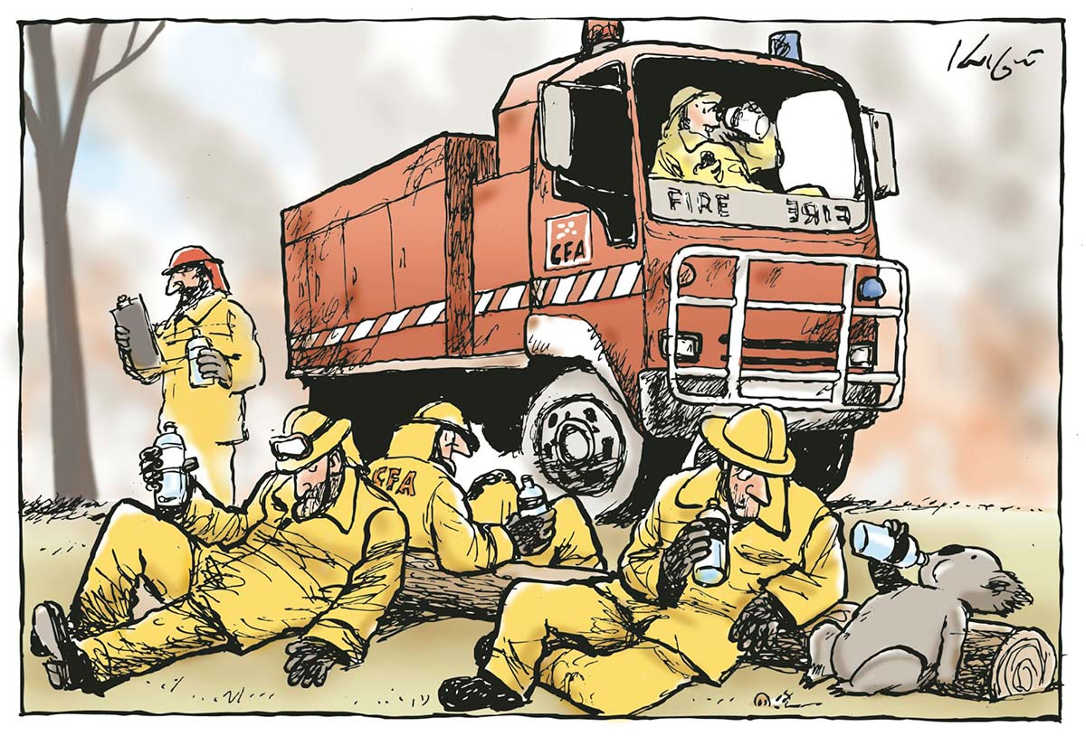 Cartoon featuring a group of firefighters and a koala lying on the ground with bottles of water. - click to view larger image