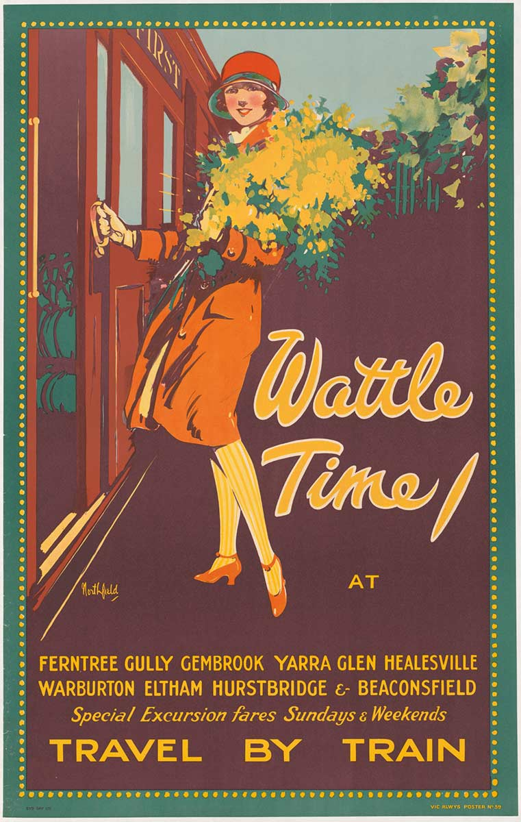 Poster featuring a woman holding a wattle bouquet and boarding a train. The title reads ' Wattle Time at ...' and lists destinations with further text that reads 'TRAVEL BY TRAIN'. - click to view larger image