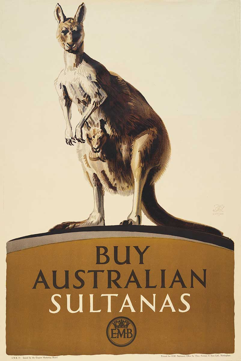 Poster with a lifelike illustration of a kangaroo with a joey in its pouch. The kangaroo stands on a mound with the words 'Buy Australian sultanas' printed on it. A circular logo with a crown and the letters 'EMB' appears at the bottom. - click to view larger image