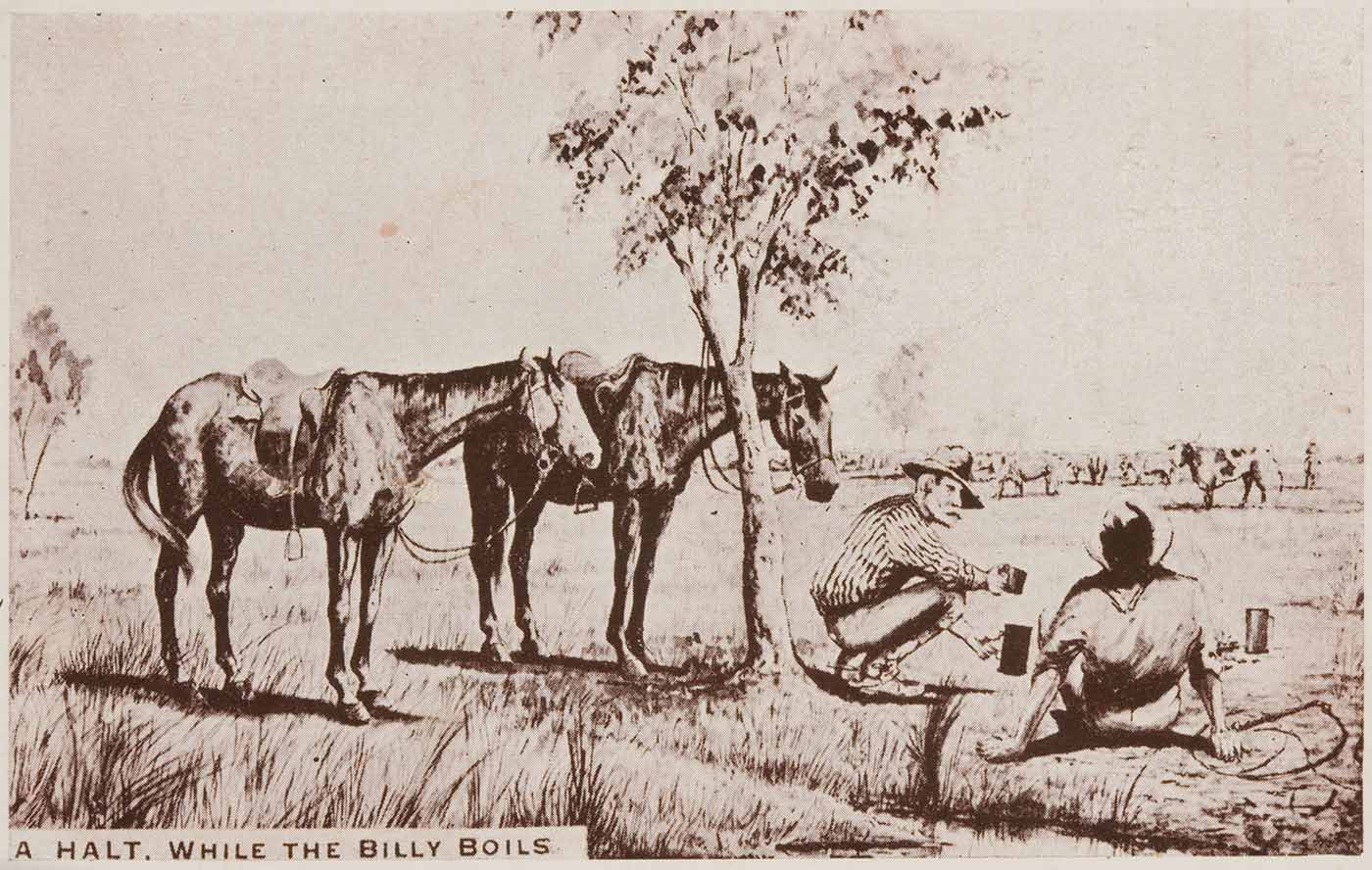 Postcard featuring two horses tethered to a tree and two men sitting waiting for a billy to boil. The text reads 'A HALT. WHILE THE BILLY BOILS'. - click to view larger image