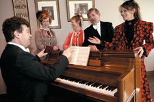 A Victorian parlour performance with (clockwise from left) Carl Rafferty, Georgia Pike, Gabrielle Hyslop, Geoffrey Borny and Cheryl Crilly.