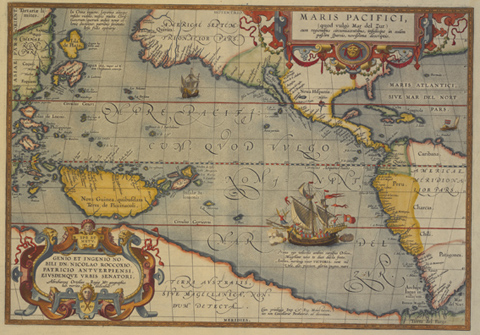 Double-page coloured engraved map. The map is titled 'MARIS PACIFICI' and it depicts north and south America and Pacific islands, including New Guinea, the Philippines, Japan and Australia. The map also includes illustrations of sailing ships.