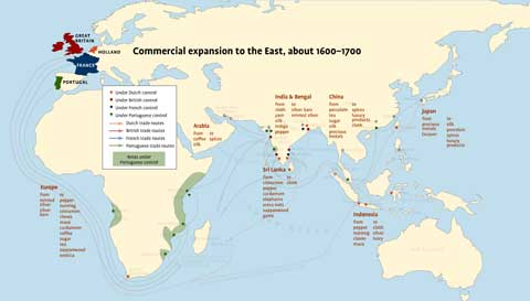 Map of the world showing goods traded, about 1600-1700.