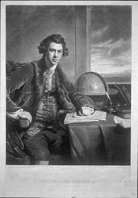 Engraving by Samuel William Reynolds that shows Joseph Banks following his return from Cook's first Pacific voyage