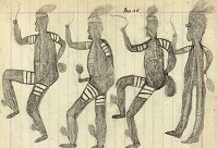 Black and white pencil sketch on a piece of lined paper showing four men dancing.