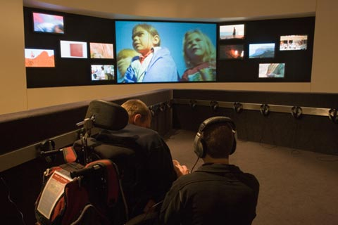An audiovisual presentation across 11 screens that feature the geographical, environmental and cultural diversity of Indigenous Australians