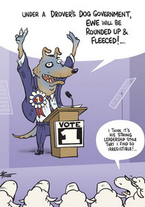 Cartoon of a dog who is running for parliament standing at a podium addressing sheep.