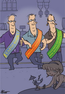 Cartoon of three men leaning on a bar in a nightclub, wearing sashes with their 'attributes' on them.