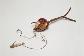 Fishing bait or lure made of the backs of cowry shells to resemble an animal. Fishing line of plant fibre is tied to it and a mother-of-pearl hook.