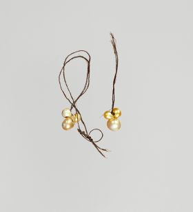 Pair of ear ornaments each composed of three pearls, tied together with plaited human hair.