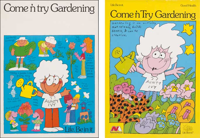 Come 'n try gardening posters featuring Aunty Ivy