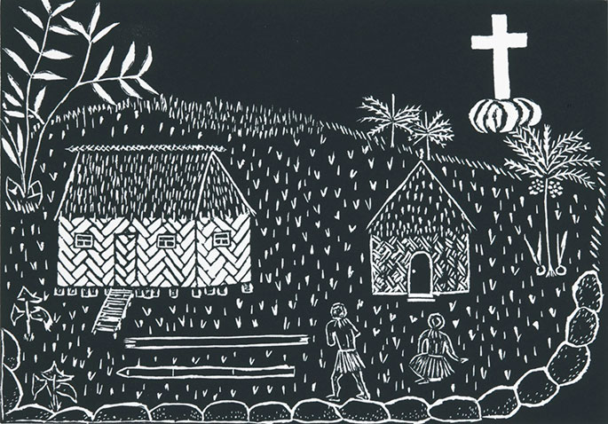 A linocut imprinted with black pigment on cream coloured paper. The artwork features two buildings, two people, and a cross at the top right corner.