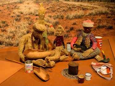 Tjanpi Family, Tjanpi Weavers display, upper level, First Australians gallery.