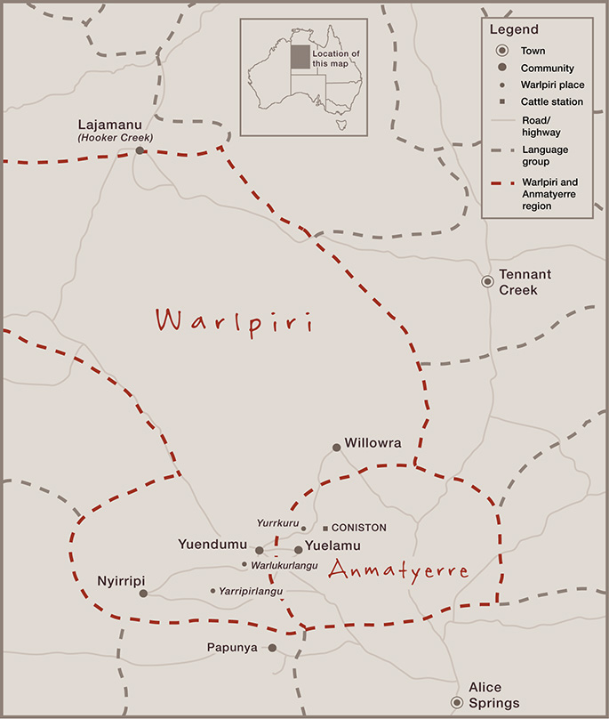 Stylised map showing Warlpiri and Anmatyerre country in the Northern Territory of Australia. Key locations include Yueundumu and Willowra, and just outside the border, Alice Springs, Hooker Creek and Tennant Creek.