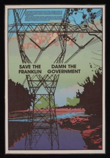 A poster with the text 'Save the Franklin, Damn the Government'