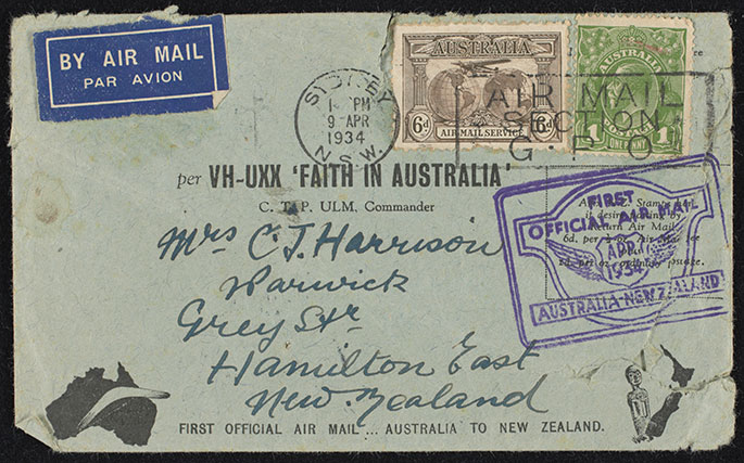 Envelope carried on first official airmail flight between Australia and New Zealand, 1934.
