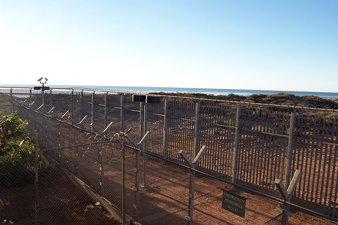 View through the fence at the Port Hedland Detention Centre