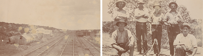 Photo on left: Deteriorated sepia photo showing three tracks with a cluster of tents to the left]. Photo on right: Six men – four standing, two crouching – wearing similar clothing, namely black pants, light shirts and broad-brimmed hats.