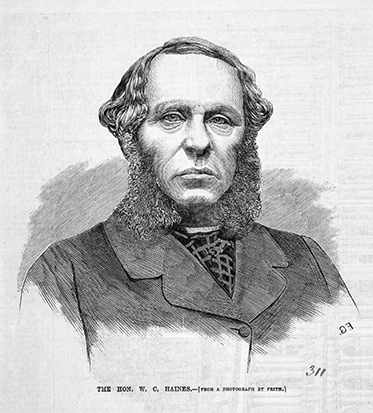 Illustration portrait of sombre looking man with mutton-chop whiskers.