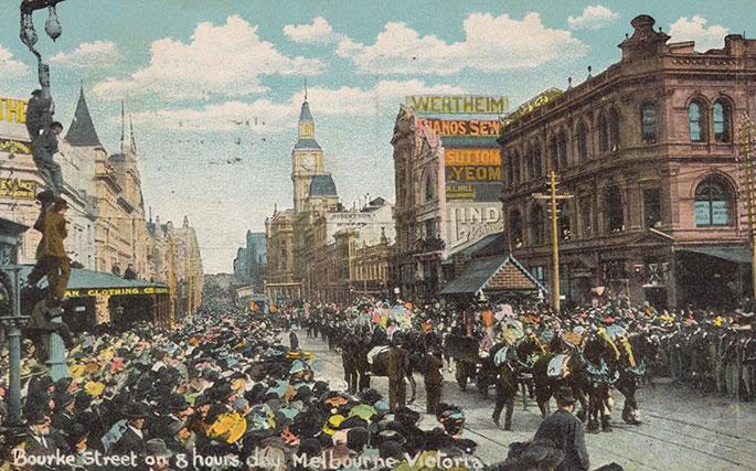 A colour-tinted drawing of a parade watched by crowds of people.