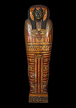 Coffin of Shephenmayt, painted with a green face and hieroglyphs.