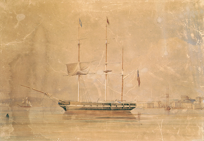 faded and damaged watercolour of a ship at anchor with what is likely to be Sydney in the background. Two other ships are visible in the background.