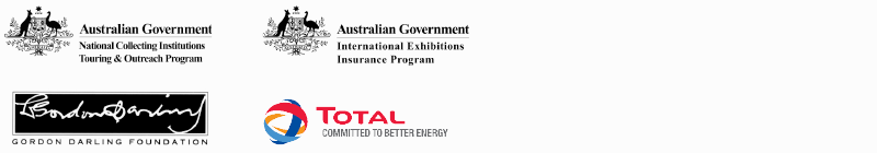 Logos for the Australian Government's National Collecting Institutions Touring and Outreach Program and Program and the International Exhibitions Insurance Program.