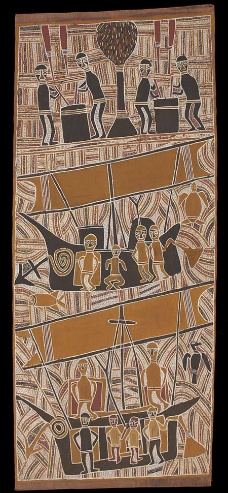 Bark painting depicting Makasar people boiling trepang - click to view larger image