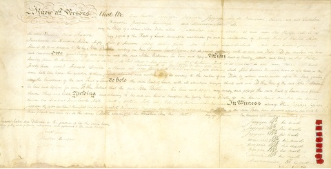 Handwritten document with eight small red seals bottom right.