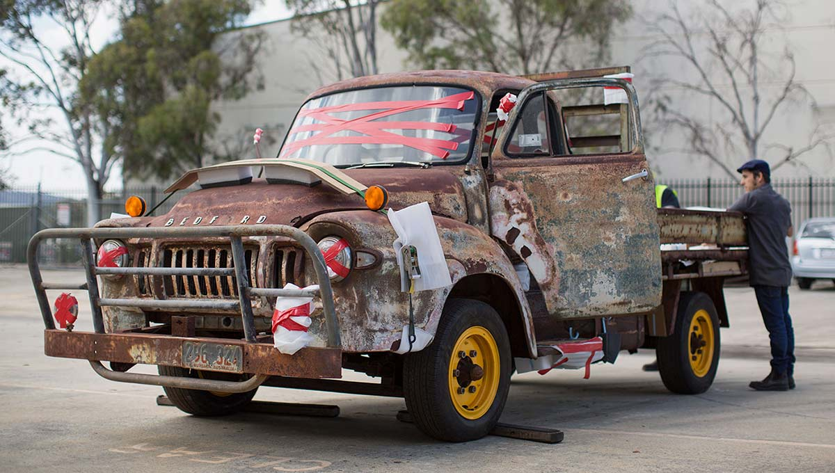 Rusted Bedford truck.