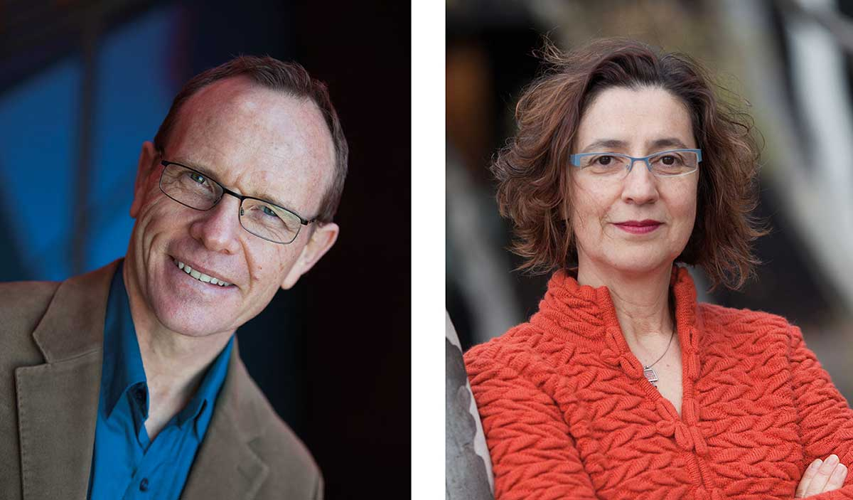 Portraits of Andrew Sayers, left, and Helen Kon, right.