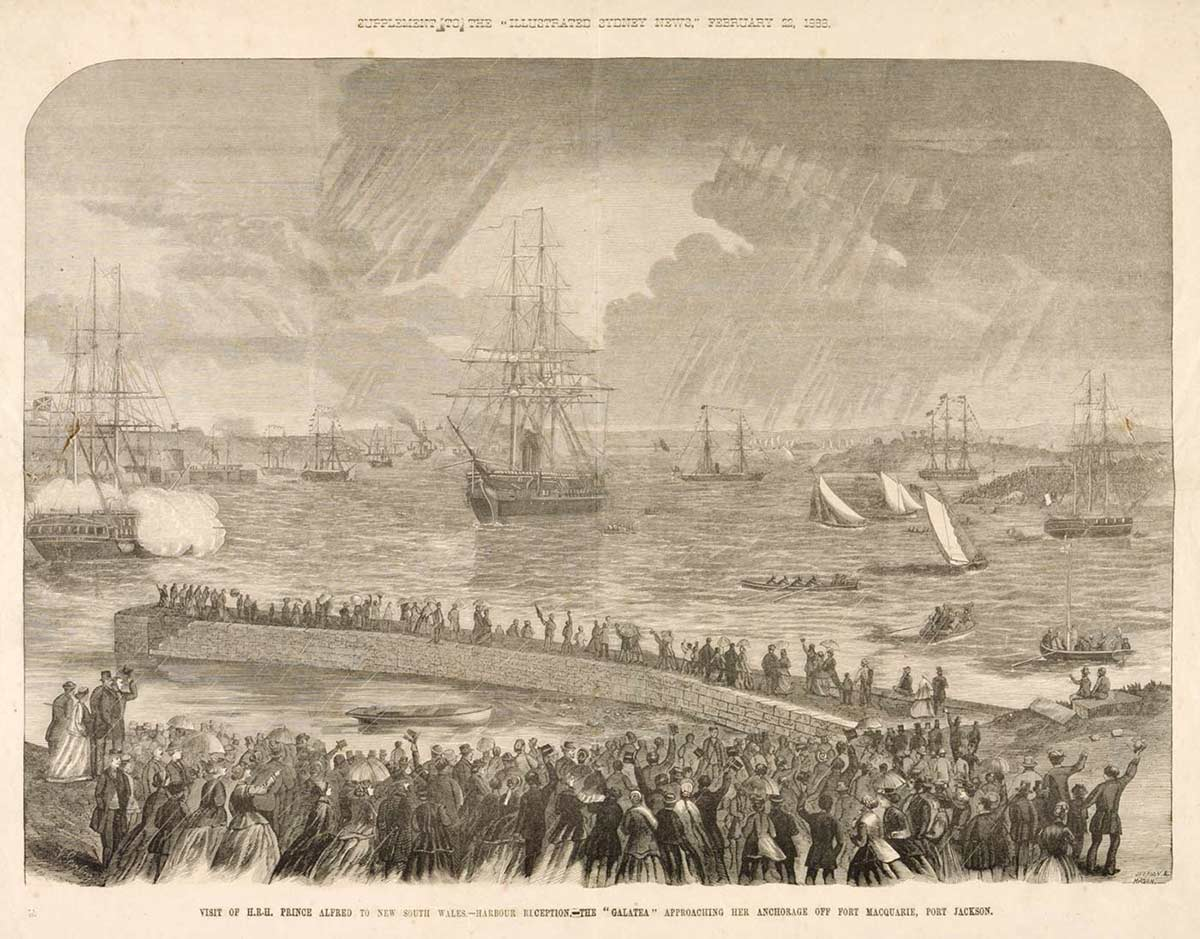 Etching of harbour scene in which a tall ship is prominent. Crowds line the foreshore.