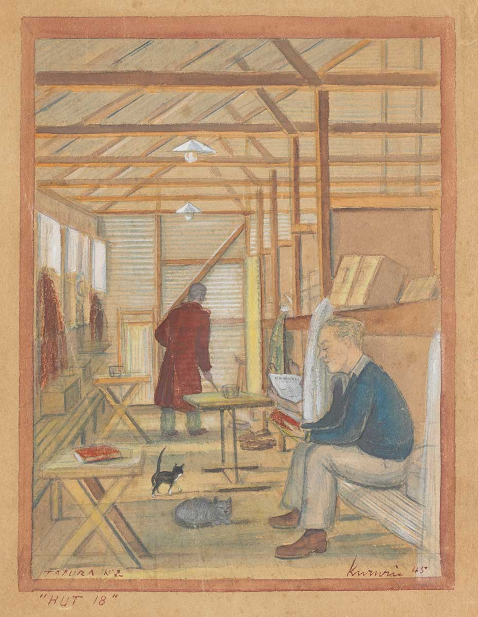 Artwork featuring the interior of a large shed fitted out with sleeping quarters. A few men are casually reading, while a couple of cats wander about. - click to view larger image