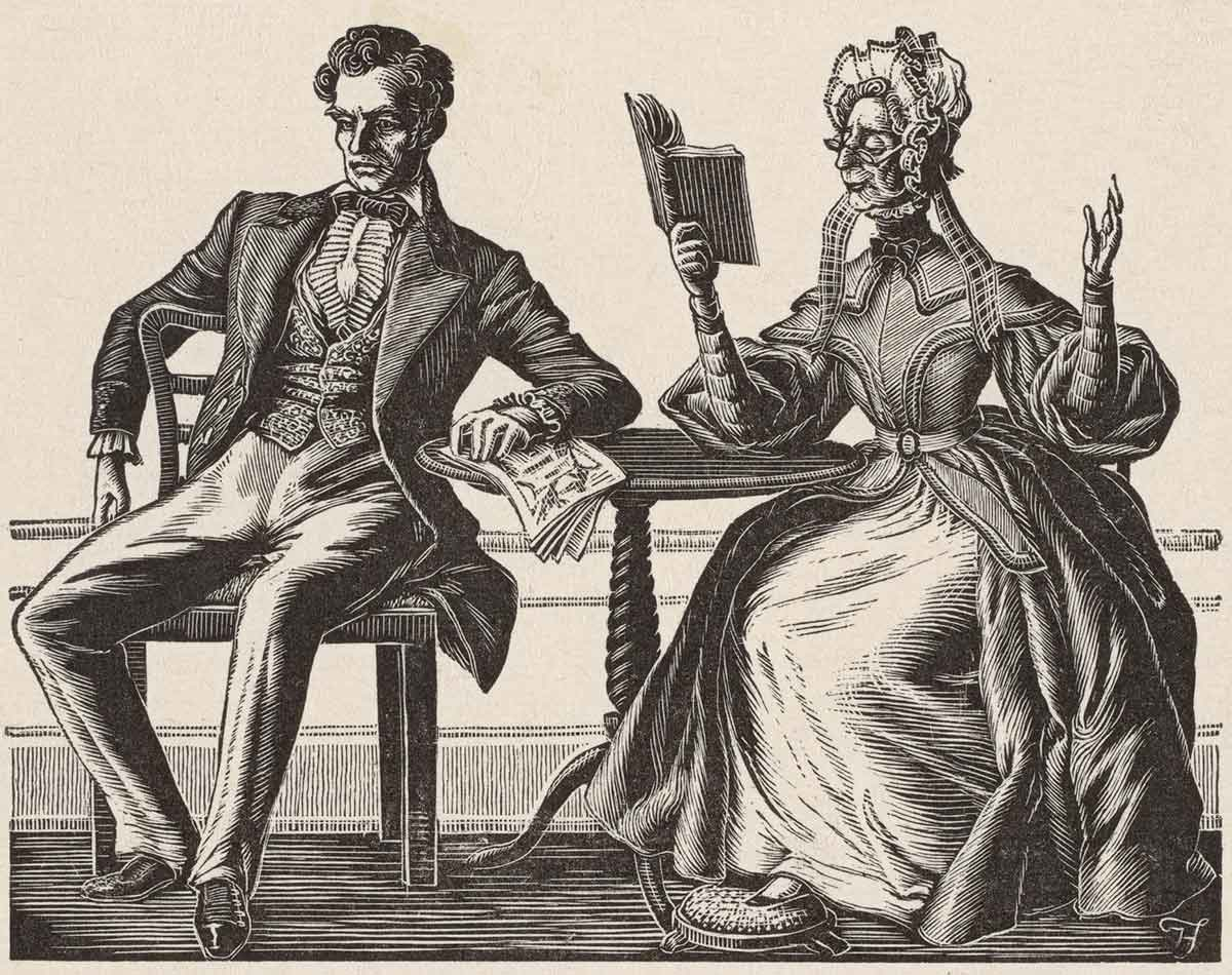 Engraving of Victorian era scene in which an older woman sits at a table reading a book to a younger man