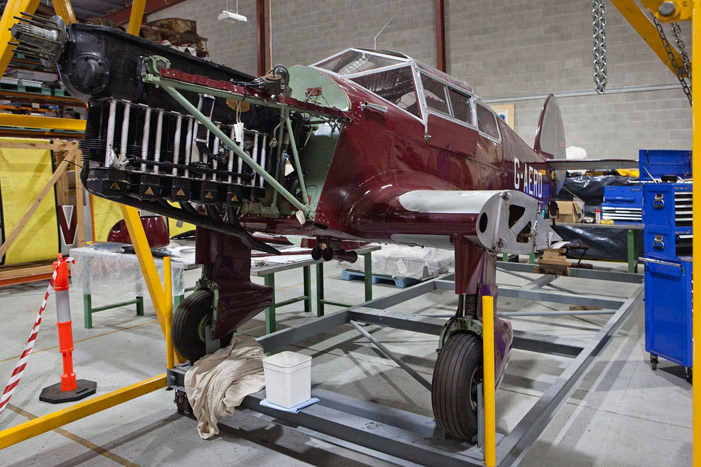 The Gull's Gipsy Six engine undergoing maintenance in the workshop - click to view larger image