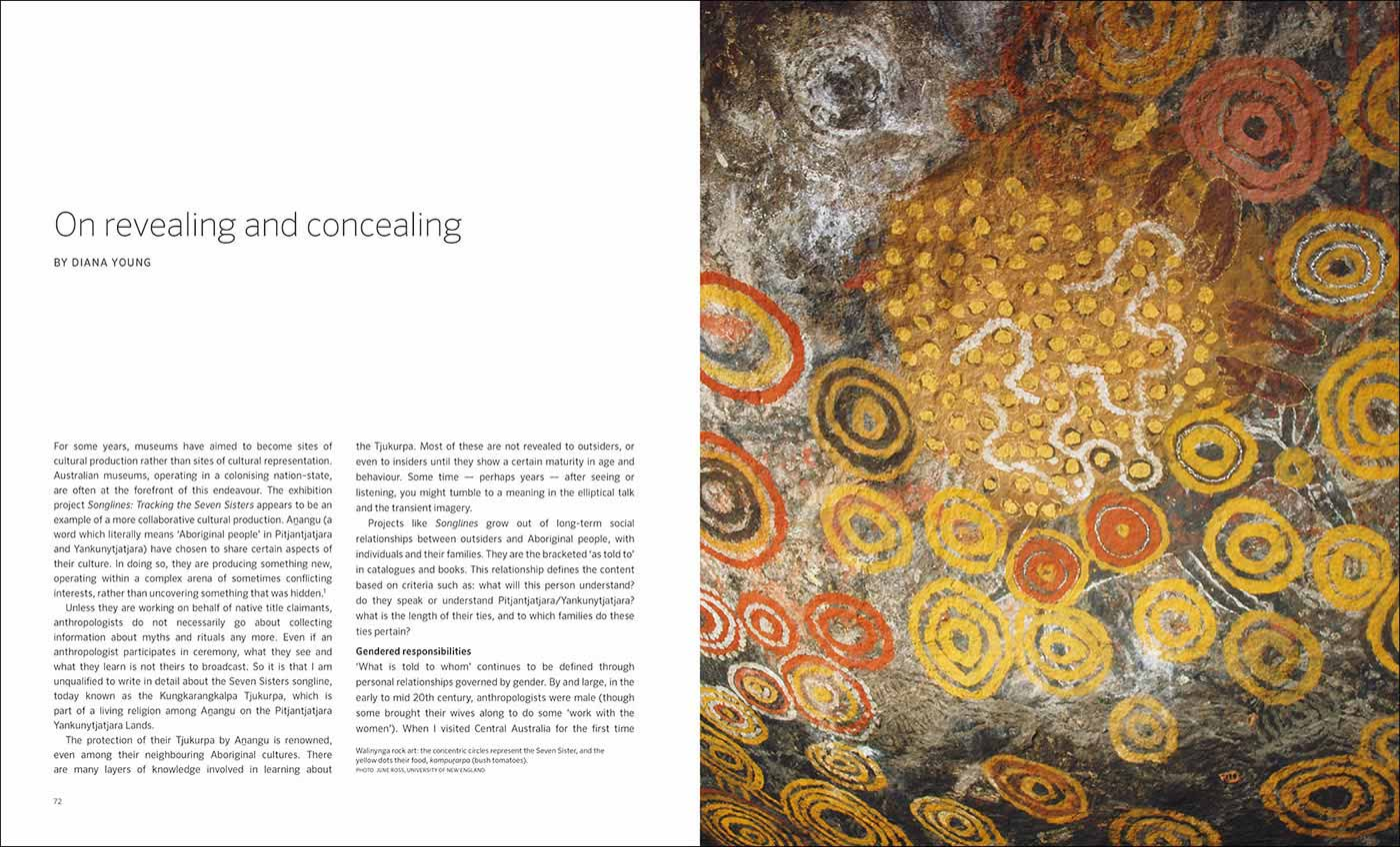 Songlines catalogue spread with text 'On revealing and concealing by Diana Young' and Seven Sisters rock art painting - click to view larger image